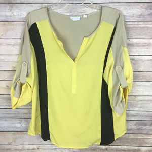 New York & Co Large Yellow Brown Black Blouse